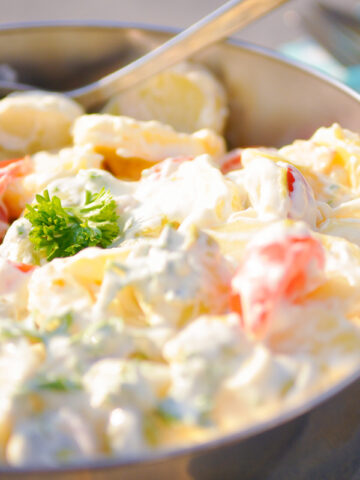 a bowl with skinny potato salad
