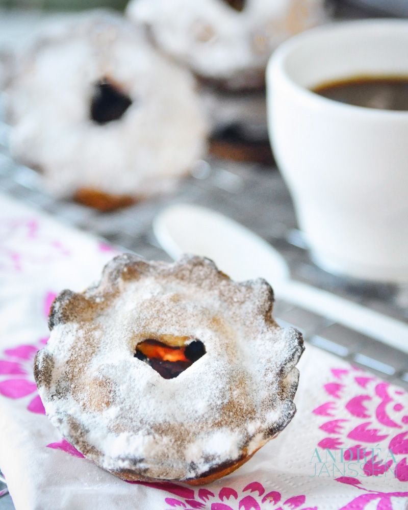 mini apple pies with a cup of coffee
