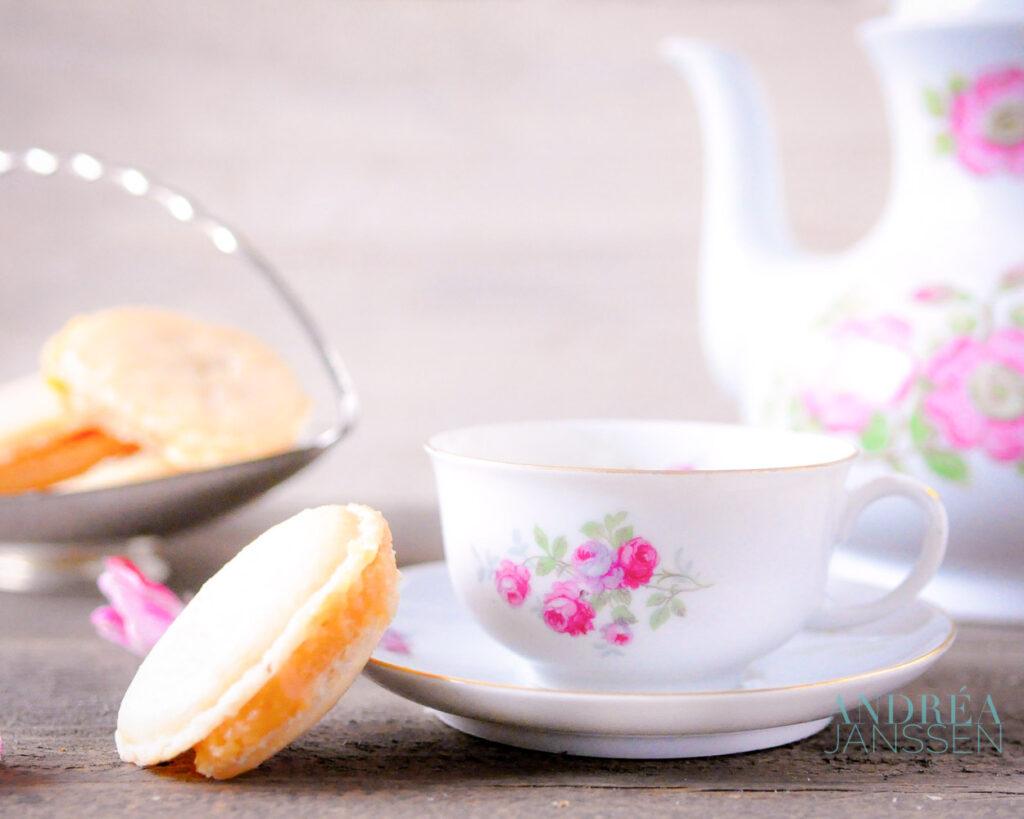 tea with Caramel macarons with salted caramel filling