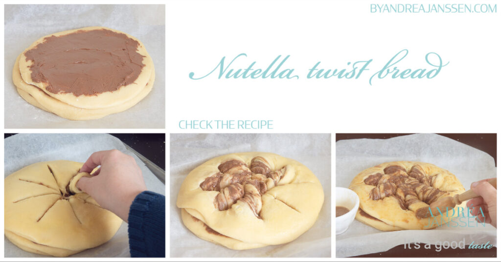 how to bake Nutella twist bread in photo's