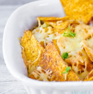 a part of a Mexican nacho casserole