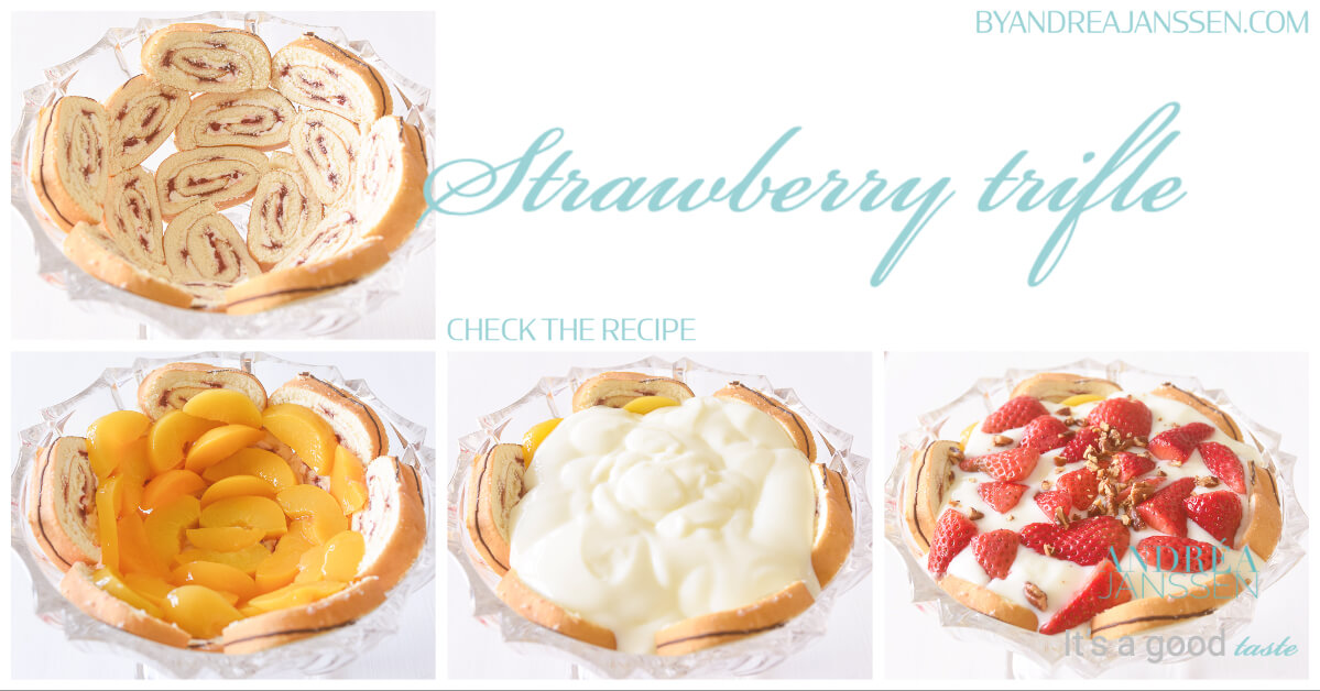 a photo how to prepare strawberry trifle