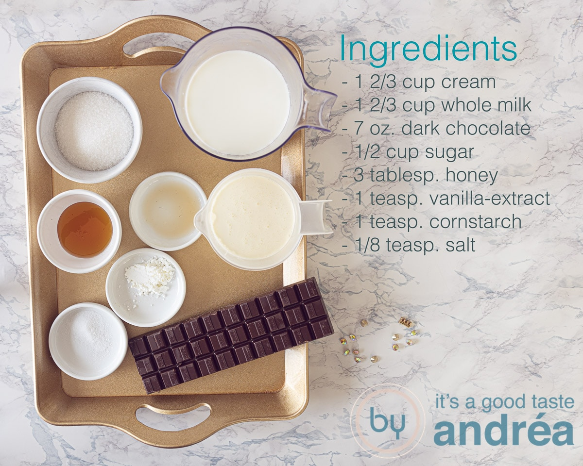 Ingredients needed for chocolate ice cream