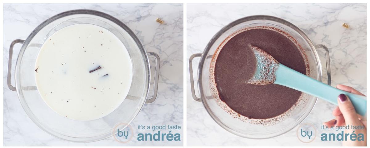 Doe de melk en chocola in een kom en meng au bain-Marie