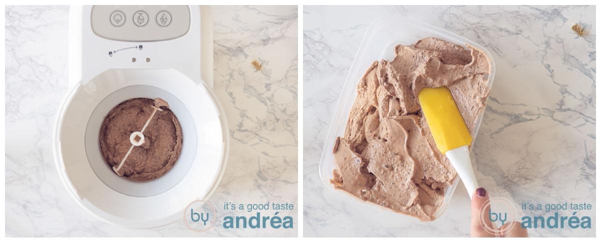 chocolade ijs in ijsmachine en zonder ijsmachine