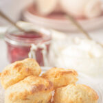 Scones with homemade strawberry jelly on a plate