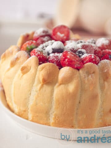 A Charlotte filled with fresh fruit on a white plate