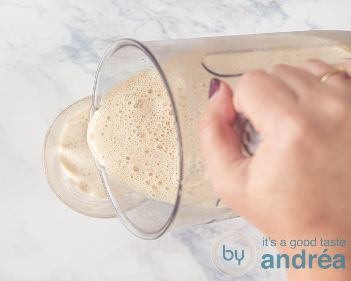 Pour the Frappuccino into a glass.
