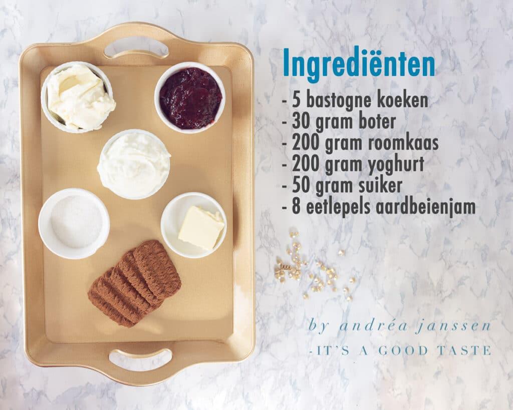 Ingrediënten voor Aardbeien cheesecake in een glaasje