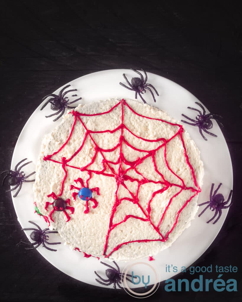 Easy Halloween Spider Web Cake