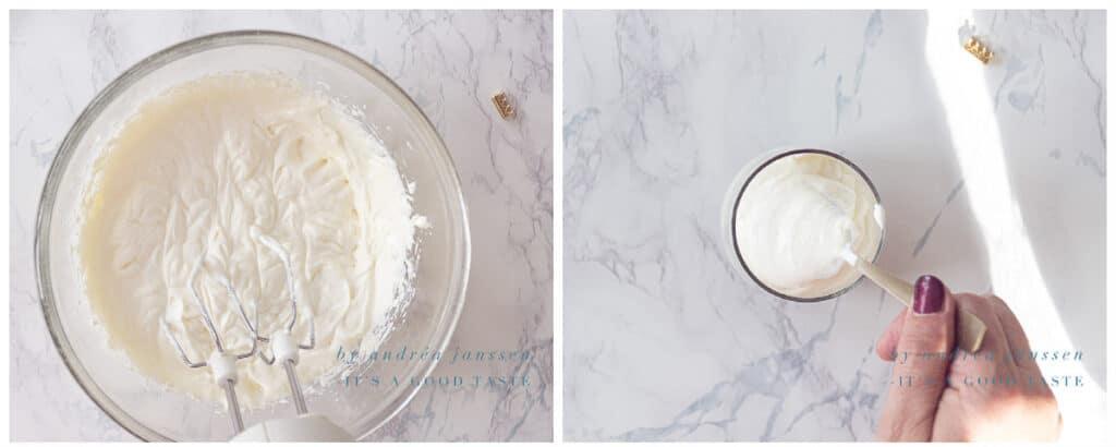 Mix the cream cheese with yogurt
