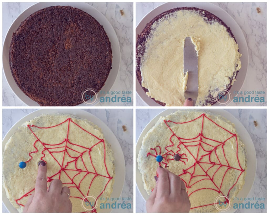 smear the frosting on the cake and decorate