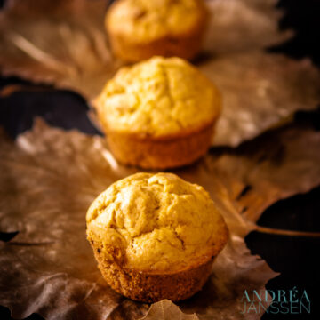 three Corn muffins in a row on golden leaves