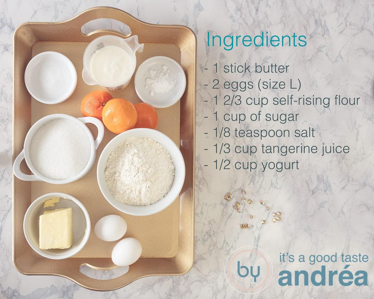 Ingredients tangerine cake