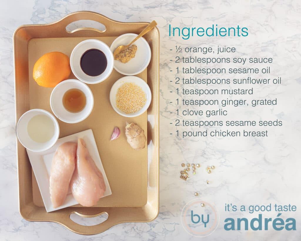 Ingredients for mustard soy chicken skewers