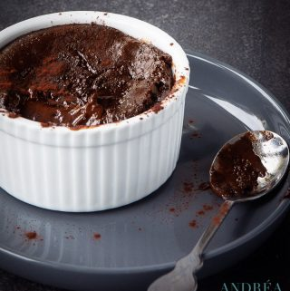 a ramekin with a chocolate pudding with a liquid heart