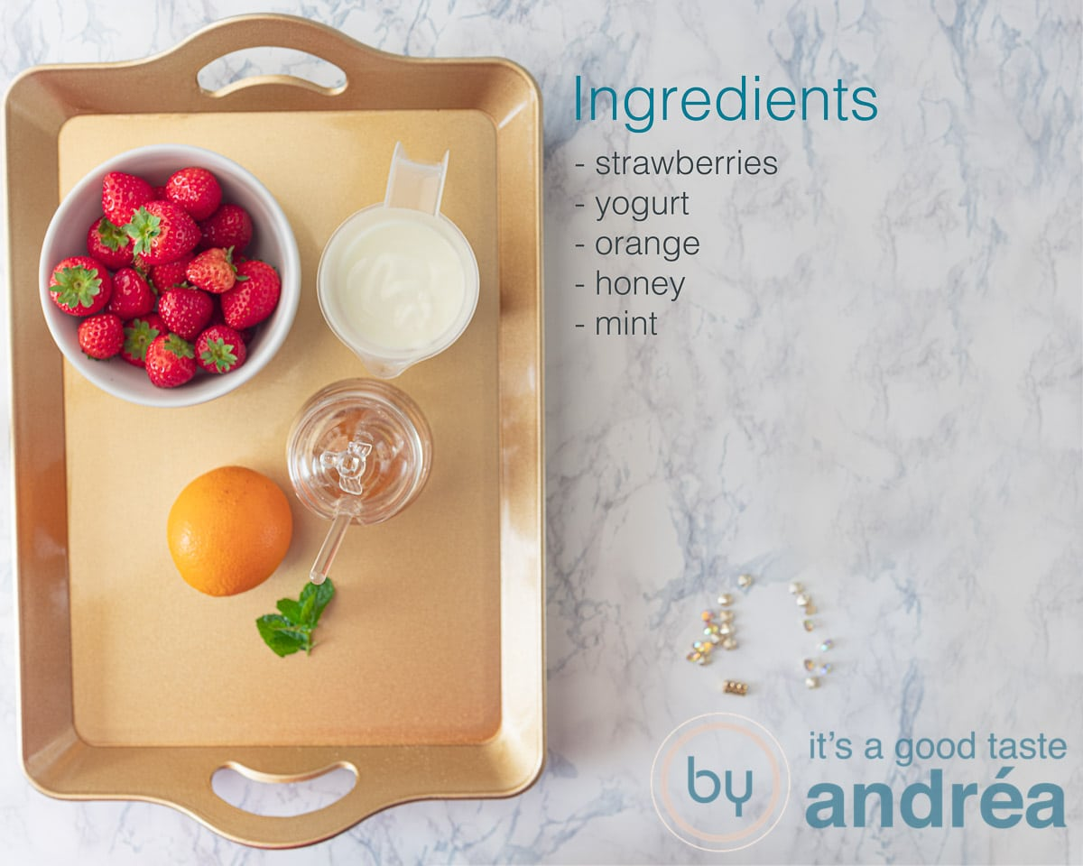 Ingredients for a strawberry orange smoothie