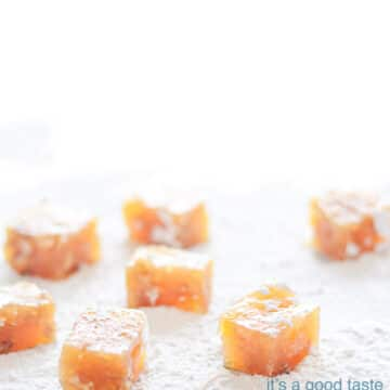 cubes of Turkish delight filled with orange and walnuts