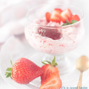 a glass of Strawberry mousse with oatmeal in the sand