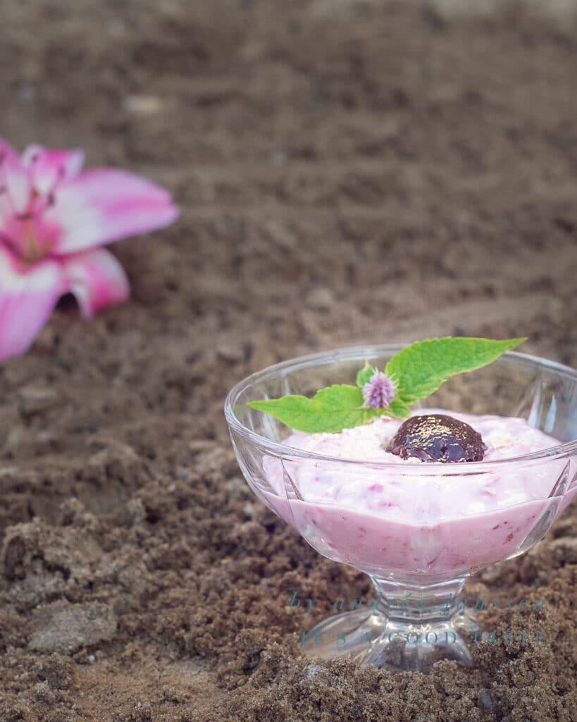 Een schaaltje met Aardbeien mousse met havermout in het zand