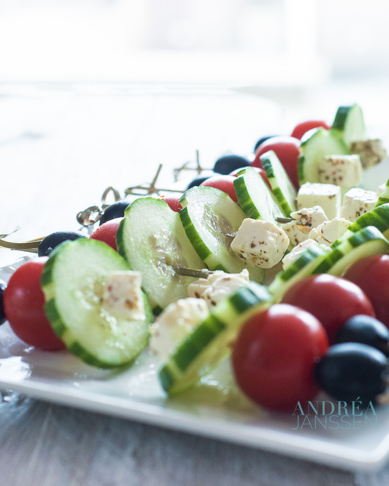 Griekse salade spiesen