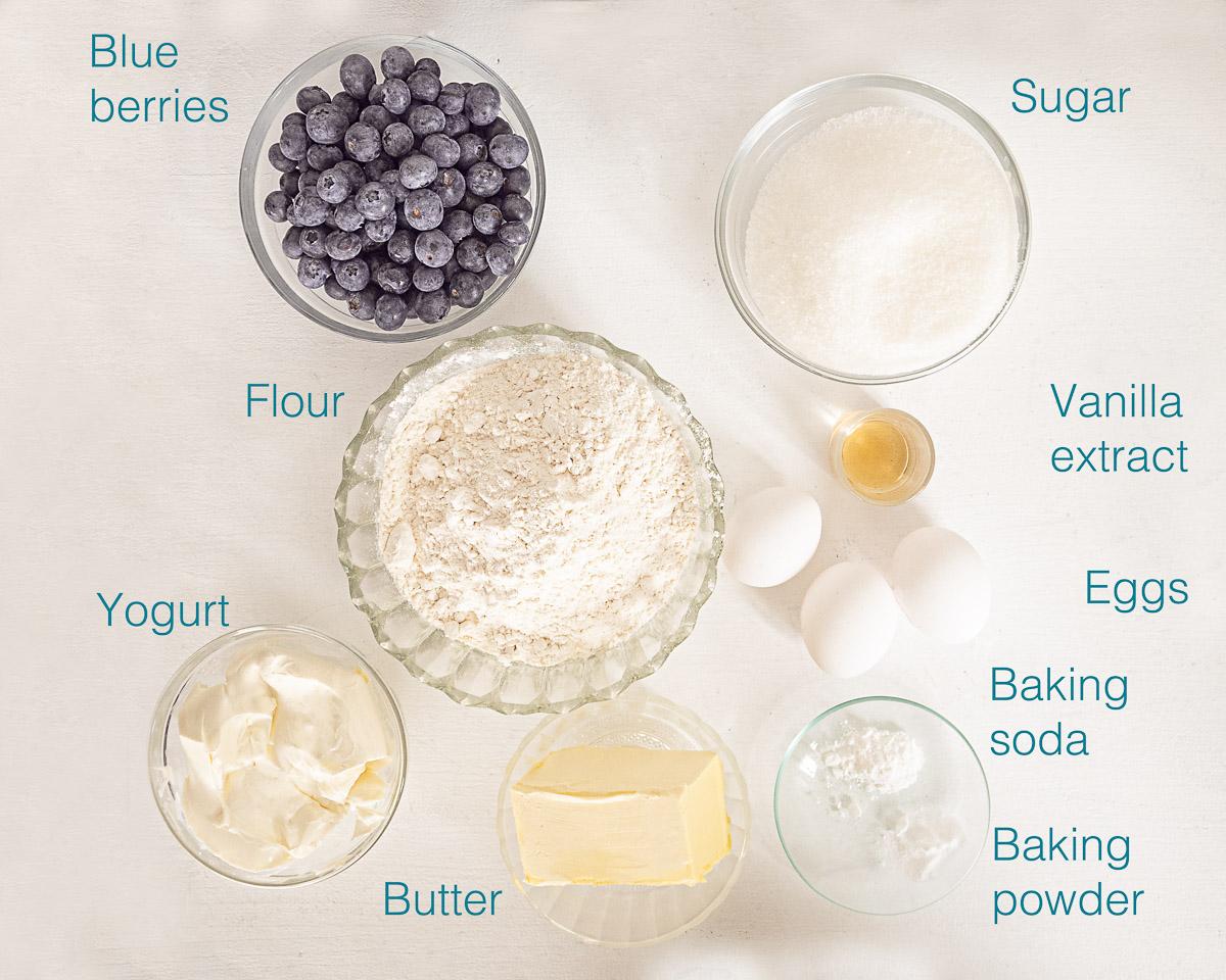 Ingredients blueberry yogurt loaf