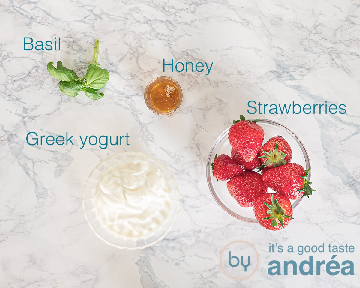 Ingredients strawberry smoothie with yogurt and basil