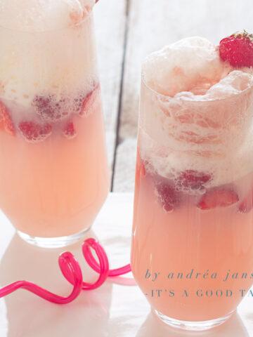 Refreshing strawberry soda ice cream