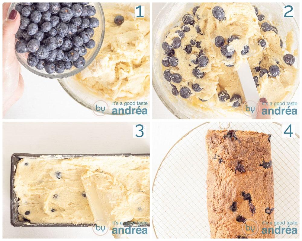 vier stappen meng de blauwe bessen door het beslag, schenk in de vorm en bak in de oven