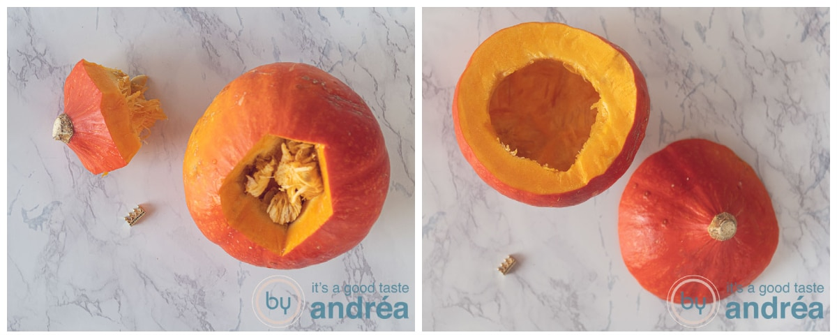 The top is sliced of the pumpkin and the seeds are removed