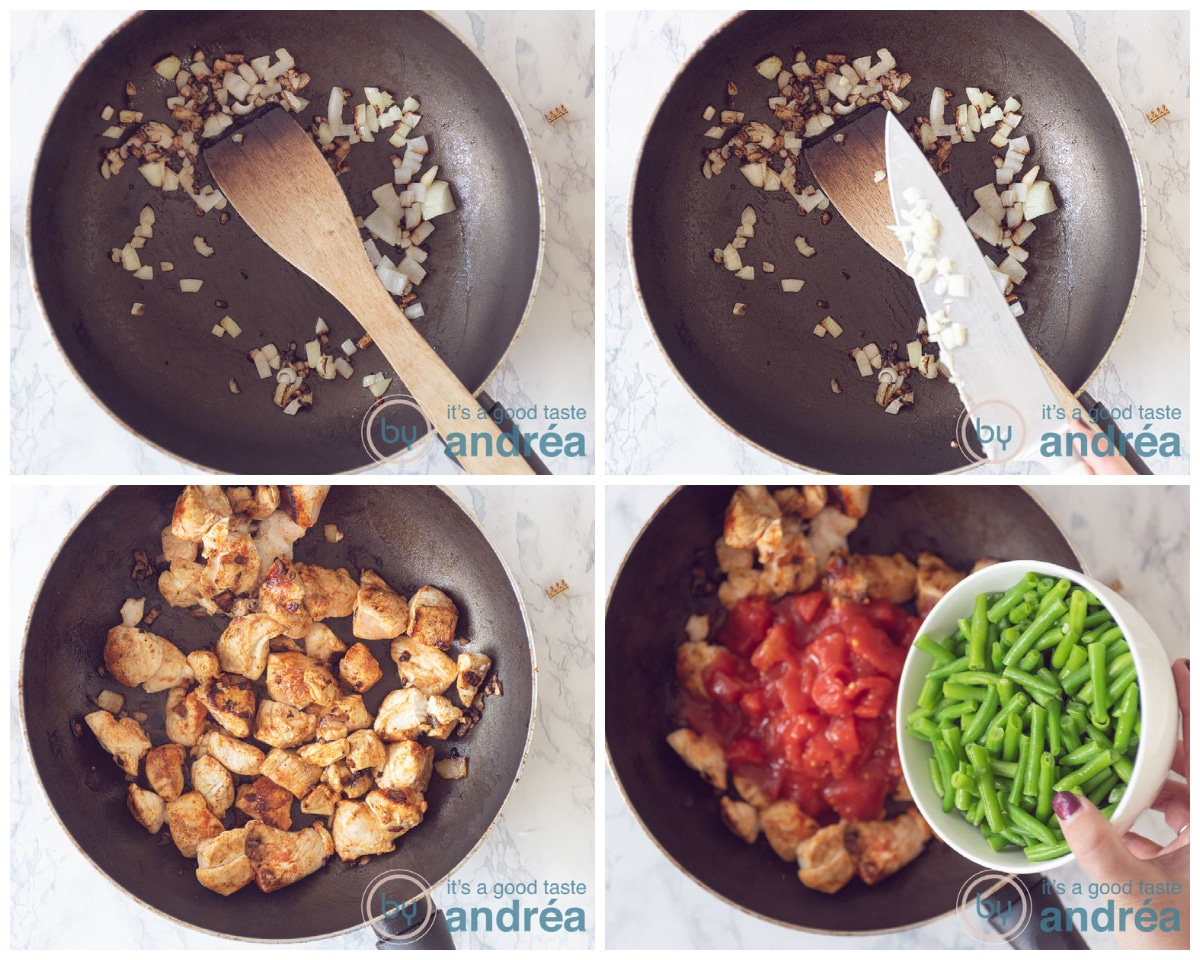 Bake the onions, garlic, chicken, tomatoes and green beans in four steps
