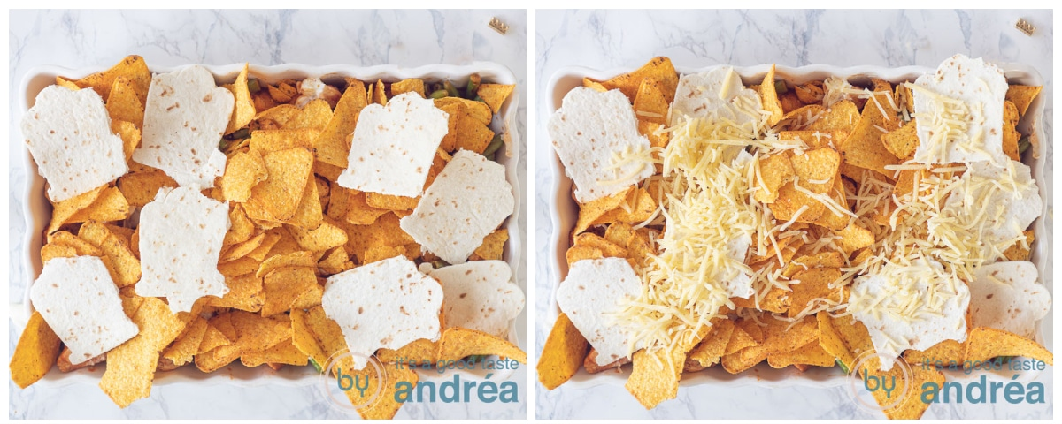 top a white casserole with nachos, tortilla's and grated cheese in two photos