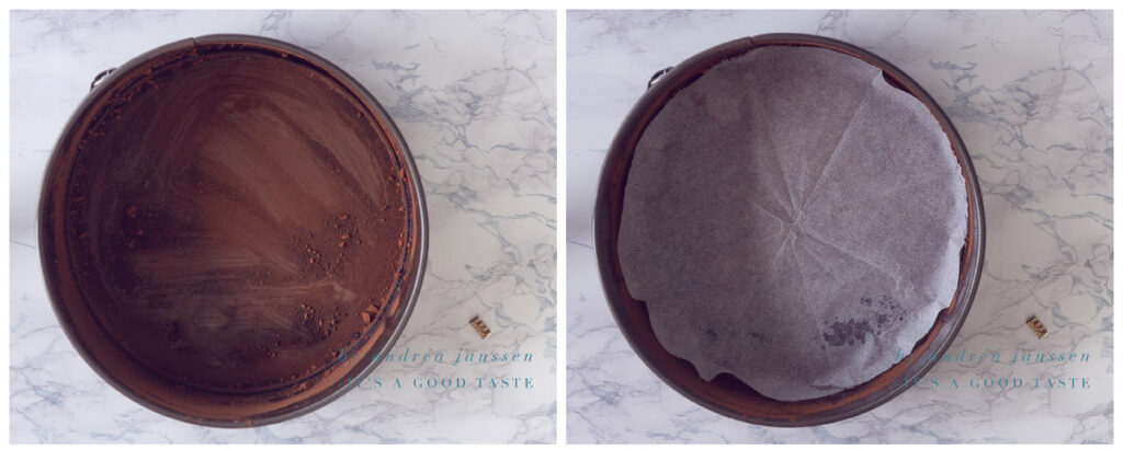 Dust the tin with cocoa and line with baking paper