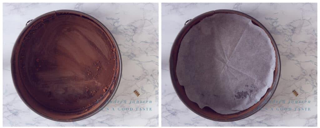 Bestuif een bakvorm met cacao en bekleed met een bakpapier