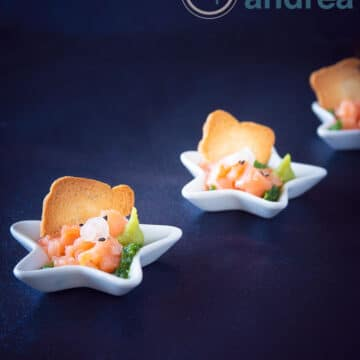 Christmas amuse bouche salmon in arugula oil