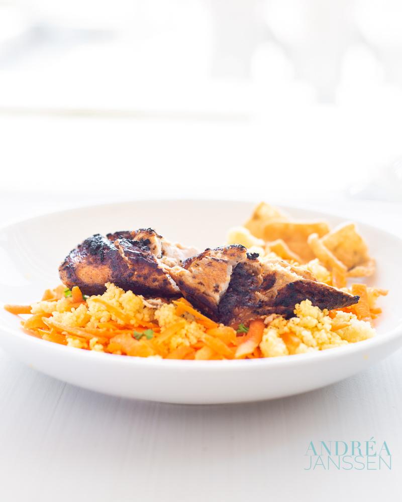 Ras el Hanout kip met kruidige wortel couscous - ras el hanout chicken with spicy carrot couscous-bewerkt