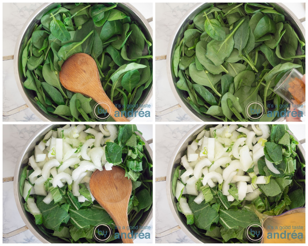 Add the spinach, turmeric, bok choy and stock to the pan