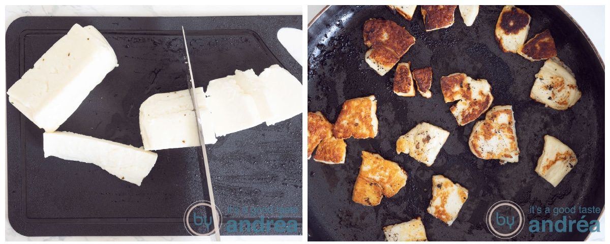 Slice the Halloumi and fry it in the pan