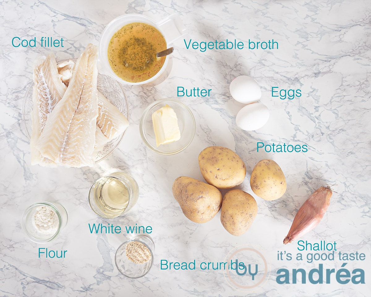 Ingredients cod and potato casserole