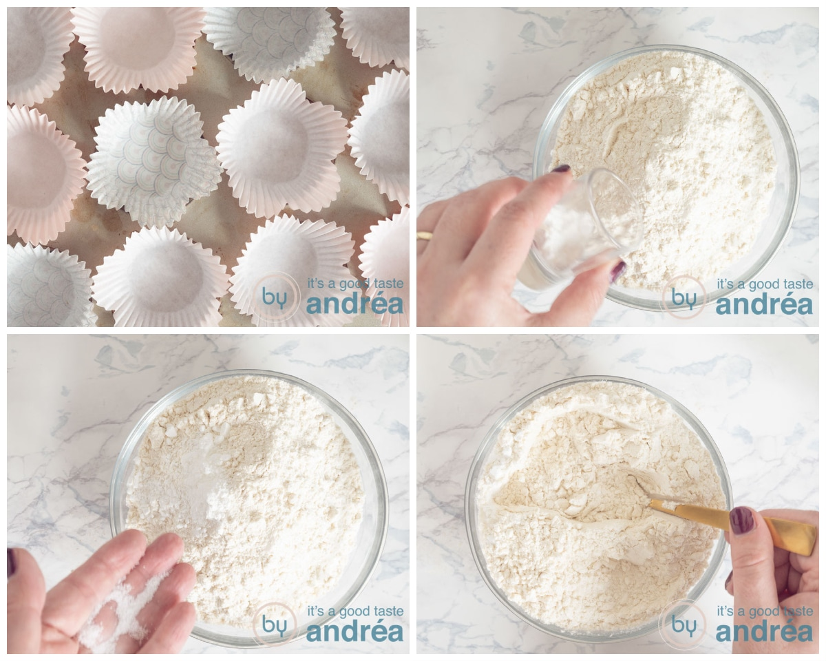 Put the forms into the tin and mix the dry ingredients