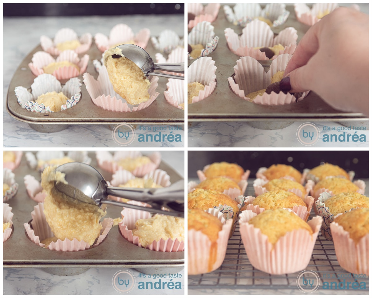 Fill the cupcake forms with batter and a chocolate egg. Bake in the oven
