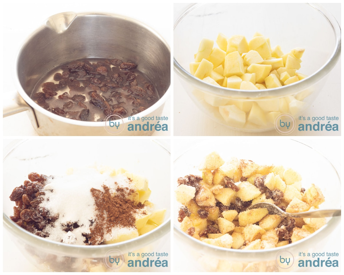 Prepare the apple pie filling in four steps