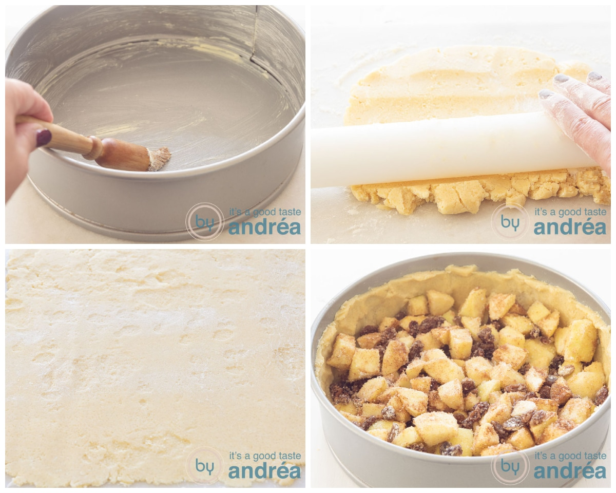 Brush the tin and cover with dough. Fill with apple pie filling