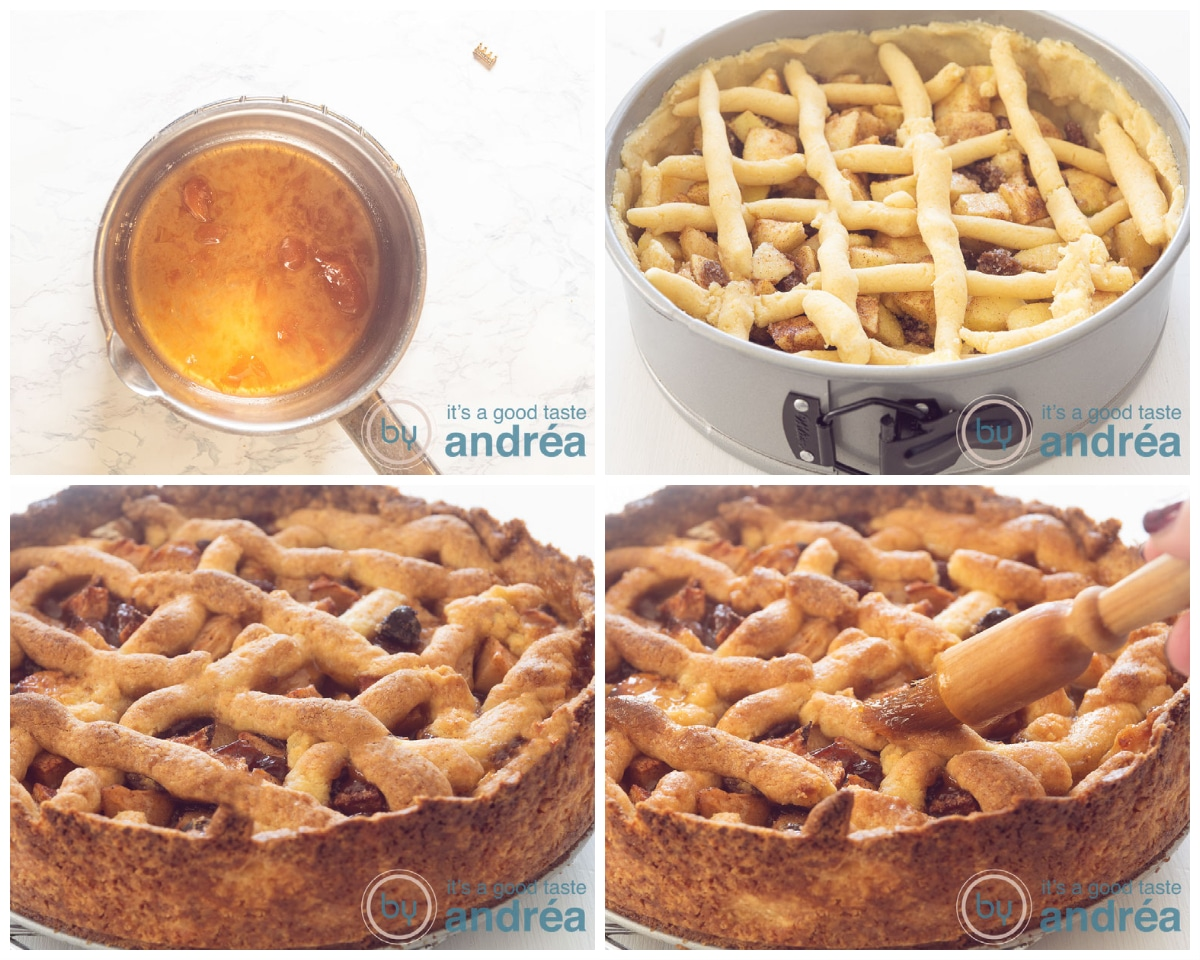 Bake the apple pie and brush the top of the pie with apricot glaze