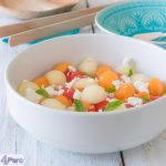 Drie kleuren meloensalade met geitenkaas en munt - three colour melon salad with goat cheese and mint