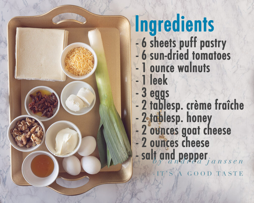 Ingredients Leek quiche with goat cheese and walnuts