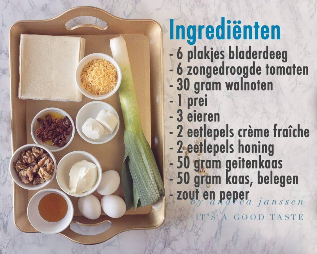 Ingrediënten Prei quiche met geitenkaas, honing en walnoot
