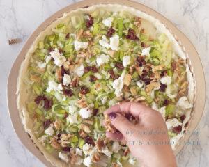 Spread the walnuts on the quiche