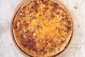 Bake the quiche in the oven
