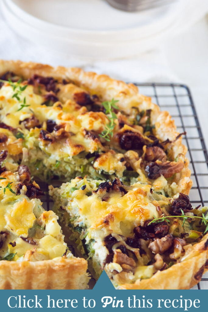 c t a Leek quiche with goat cheese and walnuts